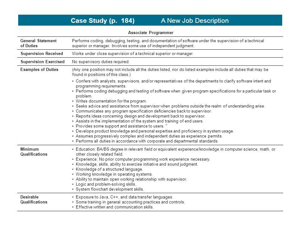Job Analysis Employer and Employee Perspectives Strategic - programmer job description