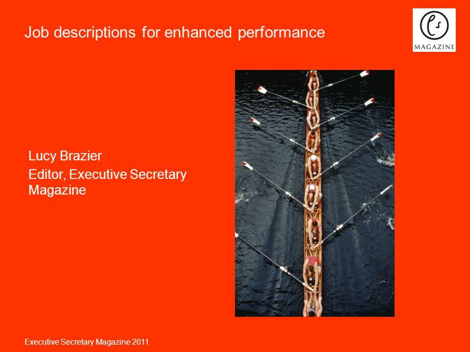 Executive Secretary Magazine 2011 Job descriptions for enhanced