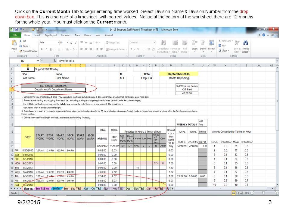 9/2/20151 Education Service Center Region 10 Payroll Time Sheet