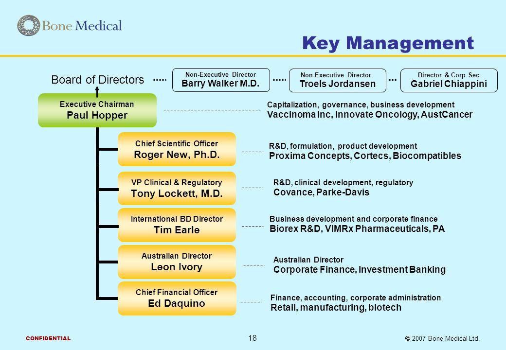 2007 Bone Medical Ltd CONFIDENTIAL Paul Hopper Executive Chairman