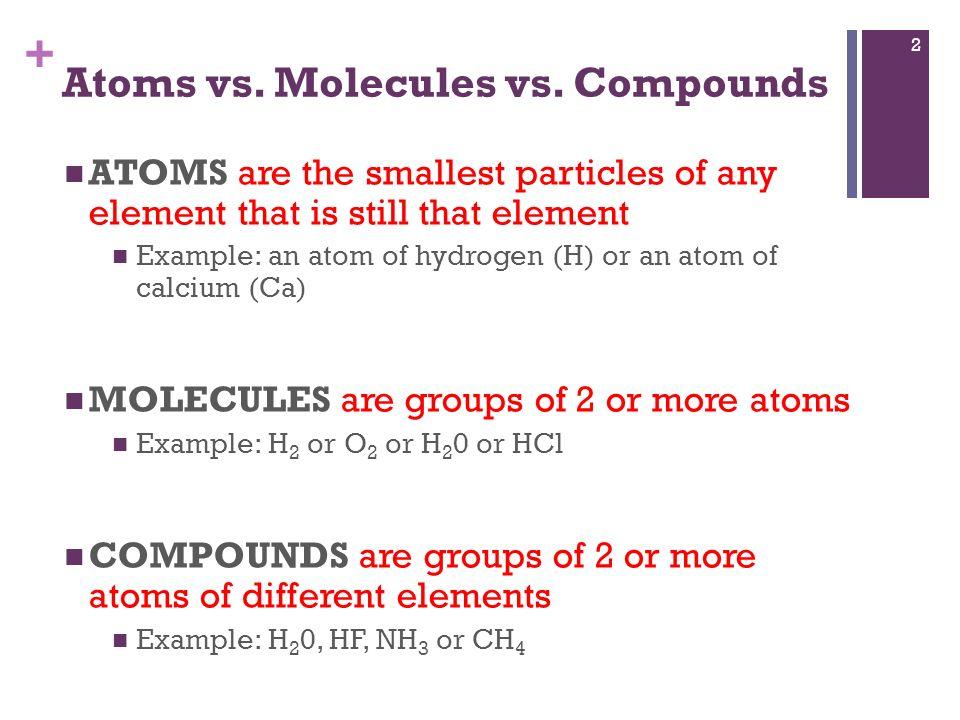 Ionic Compounds Write down the stuff in red + Atoms vs Molecules - molecule vs atom