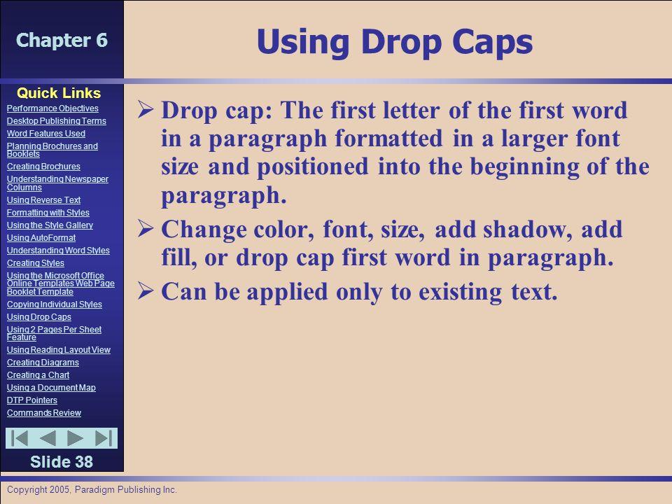 Chapter 6 Quick Links Slide 1 Performance Objectives Desktop
