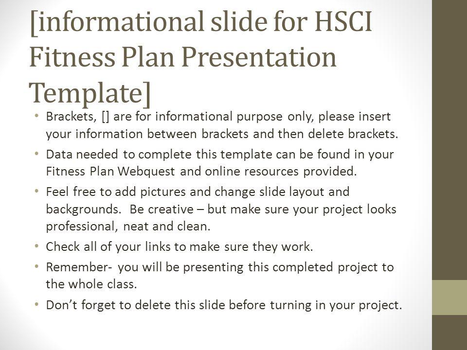 informational slide for HSCI Fitness Plan Presentation Template