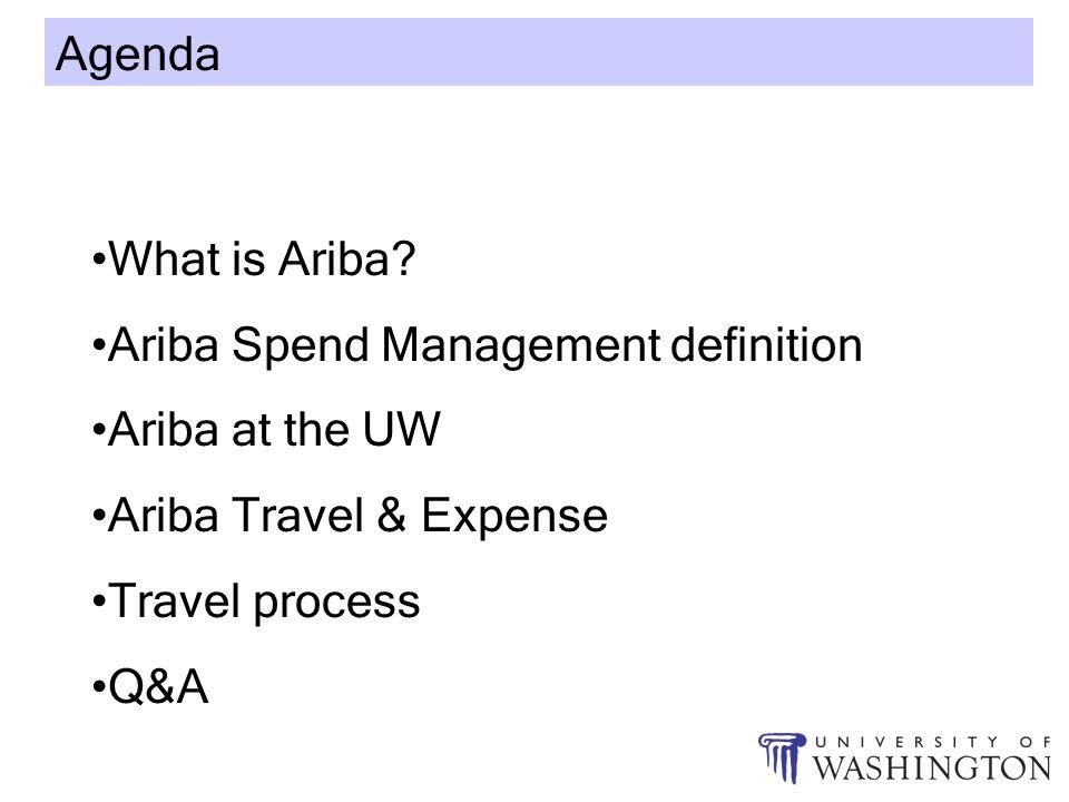 Ariba Agenda What is Ariba? Ariba Spend Management definition Ariba