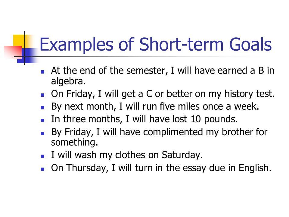 Short term goals essay - Communication honours dissertation