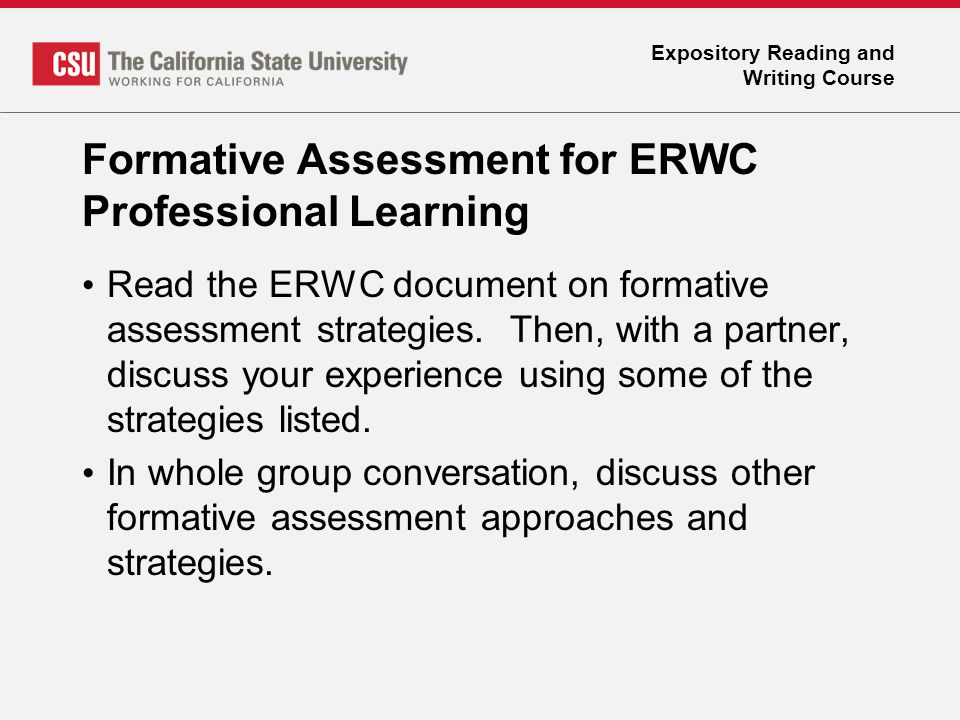 Expository Reading and Writing Course FORMATIVE ASSESSMENTS - ppt - formative assessment strategies