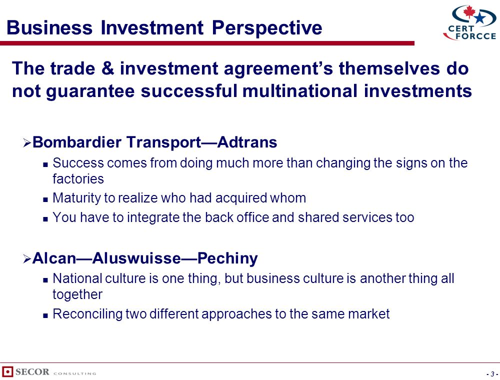 October 17, 2005 Agreements in Action Making business investment