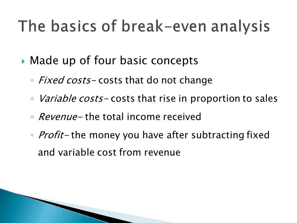 Understand the meaning of the term break even  To be calculate the