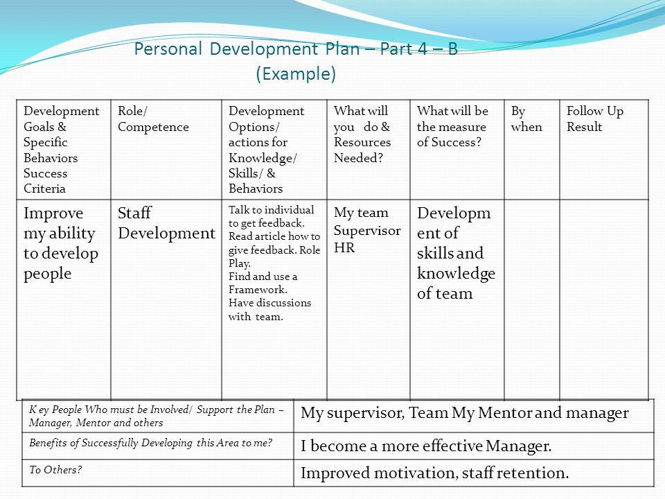Individual Personal Development Plan Sample - staruptalent - - personal development portfolio example