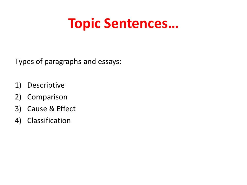 Topic Sentences\u2026 Types of paragraphs and essays 1)Descriptive 2