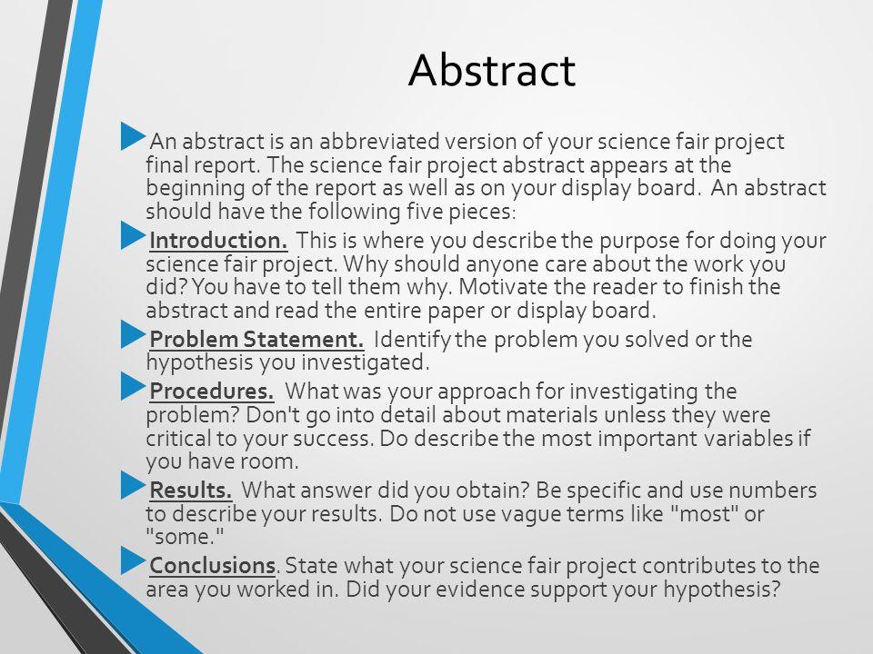 Science fair project essay