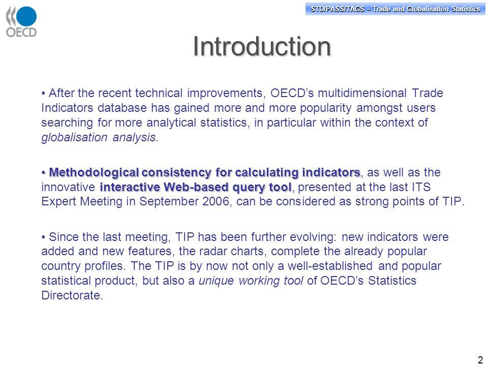 STD/PASS/TAGS \u2013 Trade and Globalisation Statistics OECD\u0027s Trade