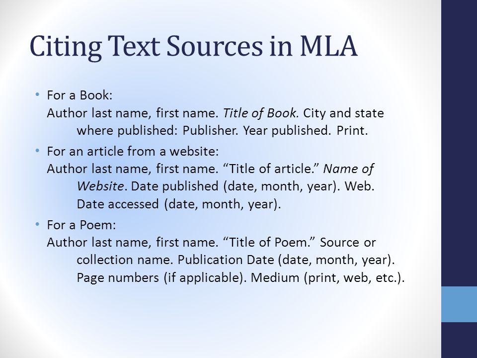 Creating MLA Style Works Cited Lists Sources should be listed in