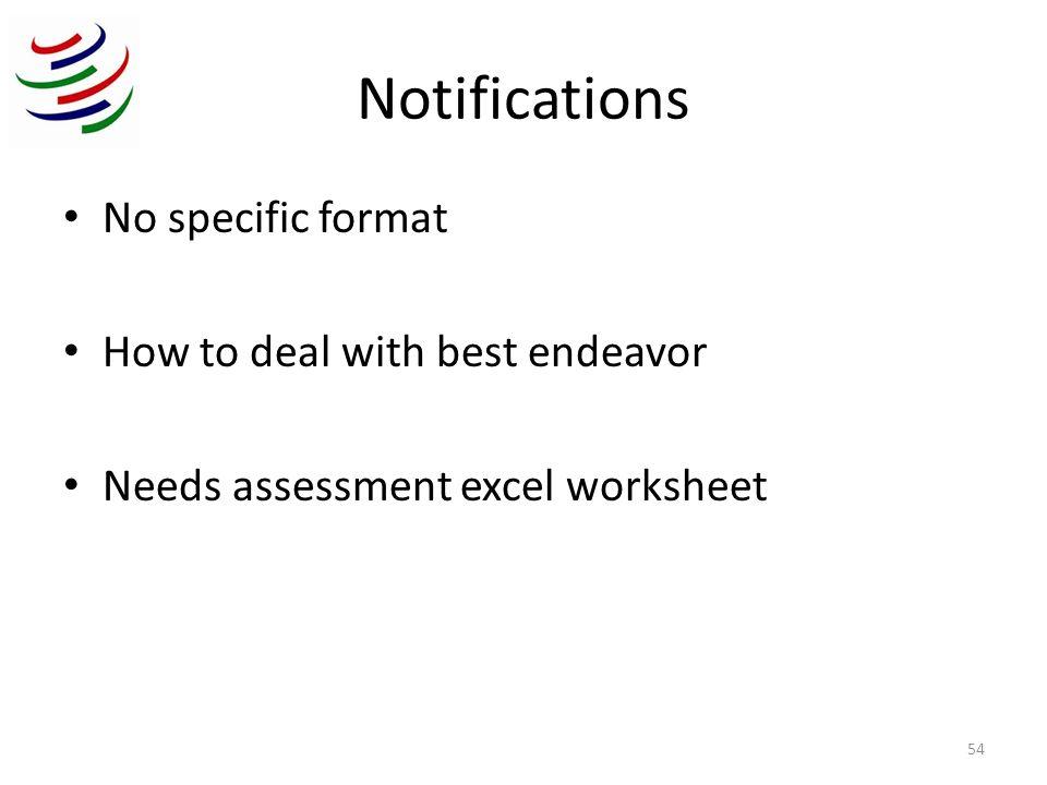 WTO Trade Facilitation Needs Assessment Project  Notification - needs assessment format