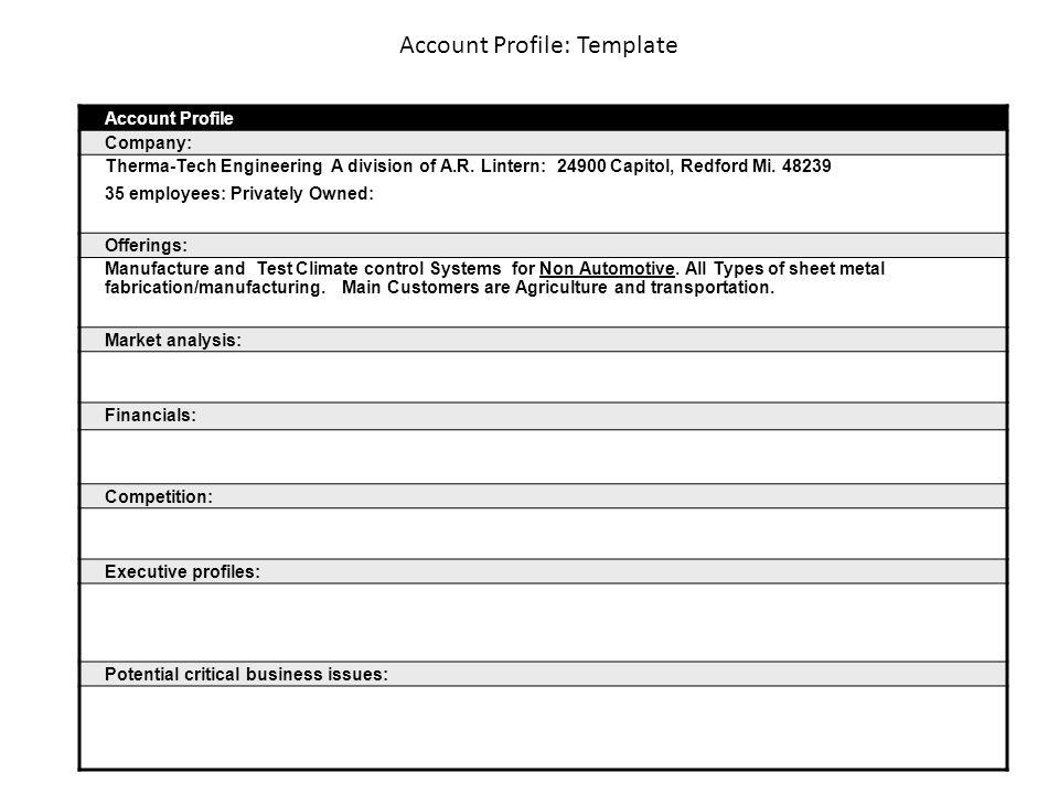 Account Profile Template Account Profile Company Therma-Tech - executive profile template