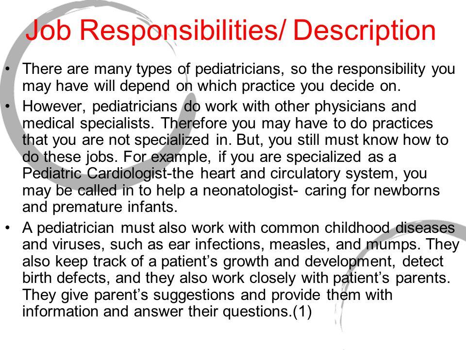 Truide Unger Pediatrician Job Responsibilities/ Description There - Pediatrician Job Description