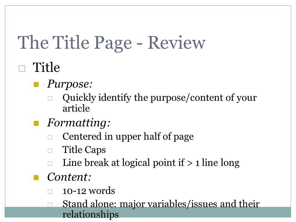 Parts of APA Manuscript The parts of an APA manuscript Title Page
