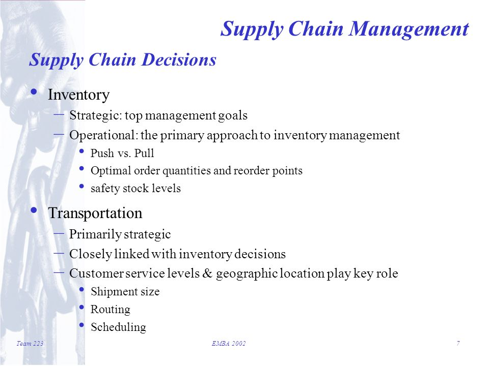 supply chain management team 223 emba introduction supply chains supply chain management job description