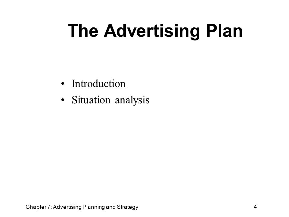 Outline Strategic planning The marketing plan The advertising plan - advertising plan