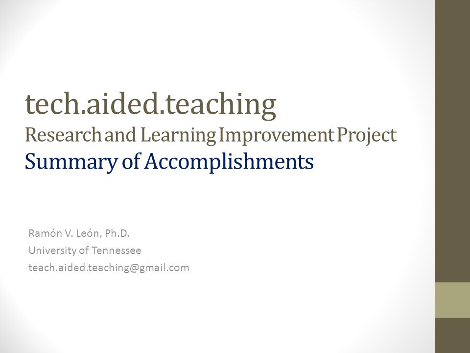 Techaidedteaching Research and Learning Improvement Project