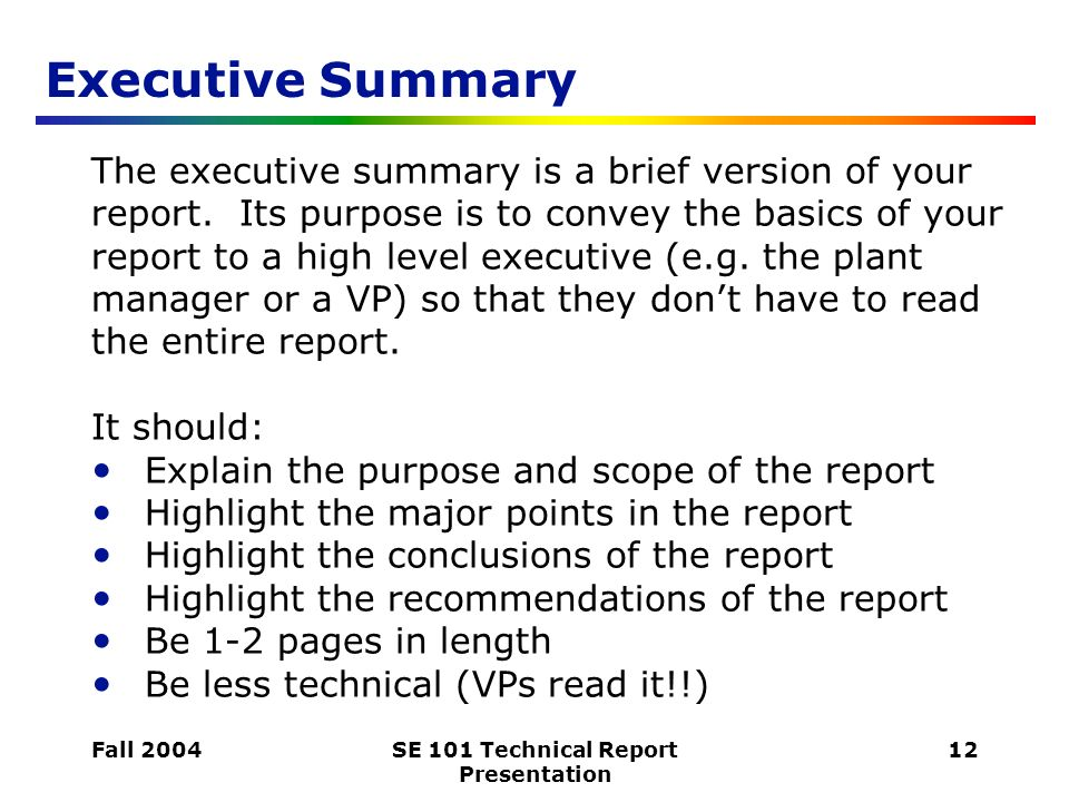 writing an executive summary for a report - Thevillas