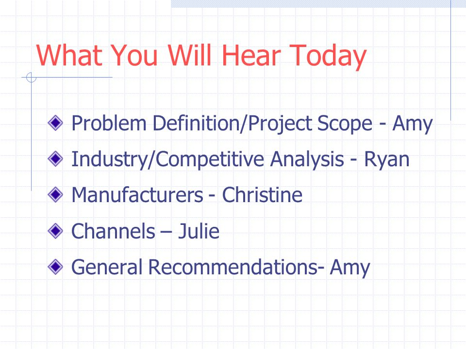 Final Consulting Report What You Will Hear Today Problem Definition