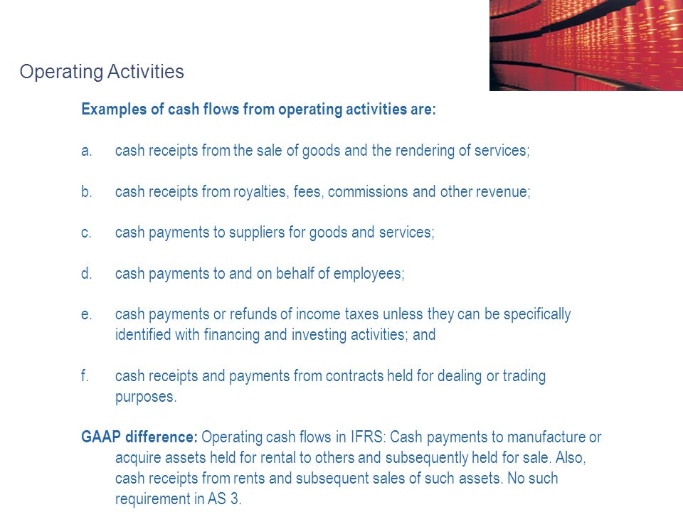 IAS 7 Cash Flow Statements Agenda 1Objective and Scope 2 - examples of cash receipts