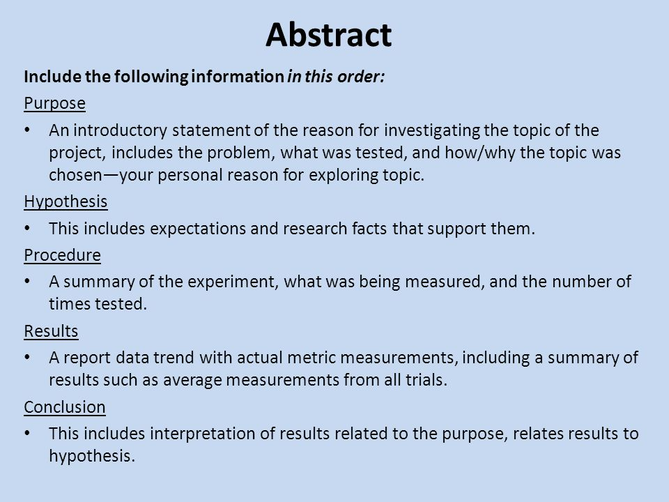 Science Fair Abstract Guidelines What Is an Abstract? A brief