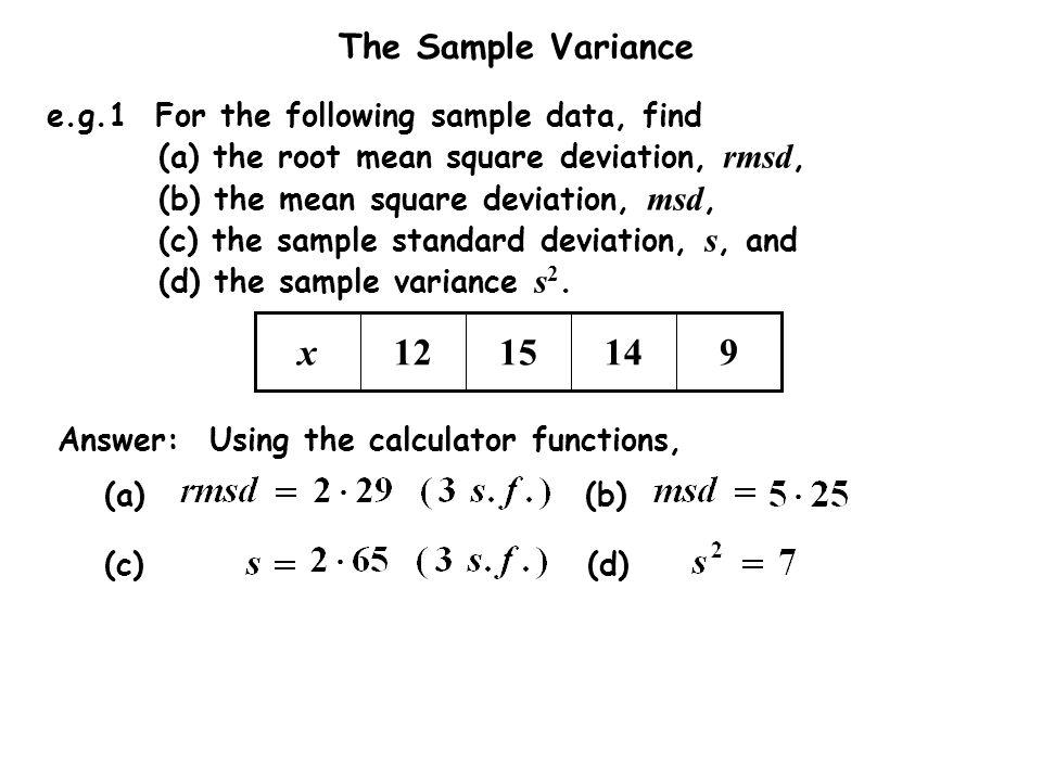 The Sample Variance © Chistine Crisp Edited by Dr Mike Hughes - sample variance