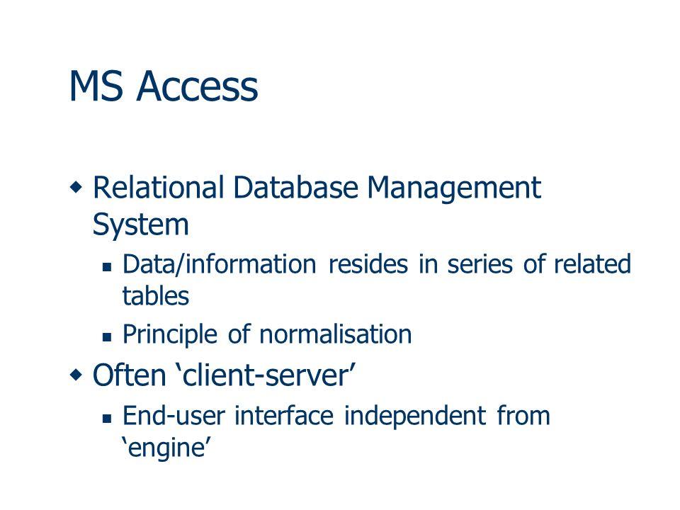 Access Primer Africamuseum 5 June MS Access  Relational Database