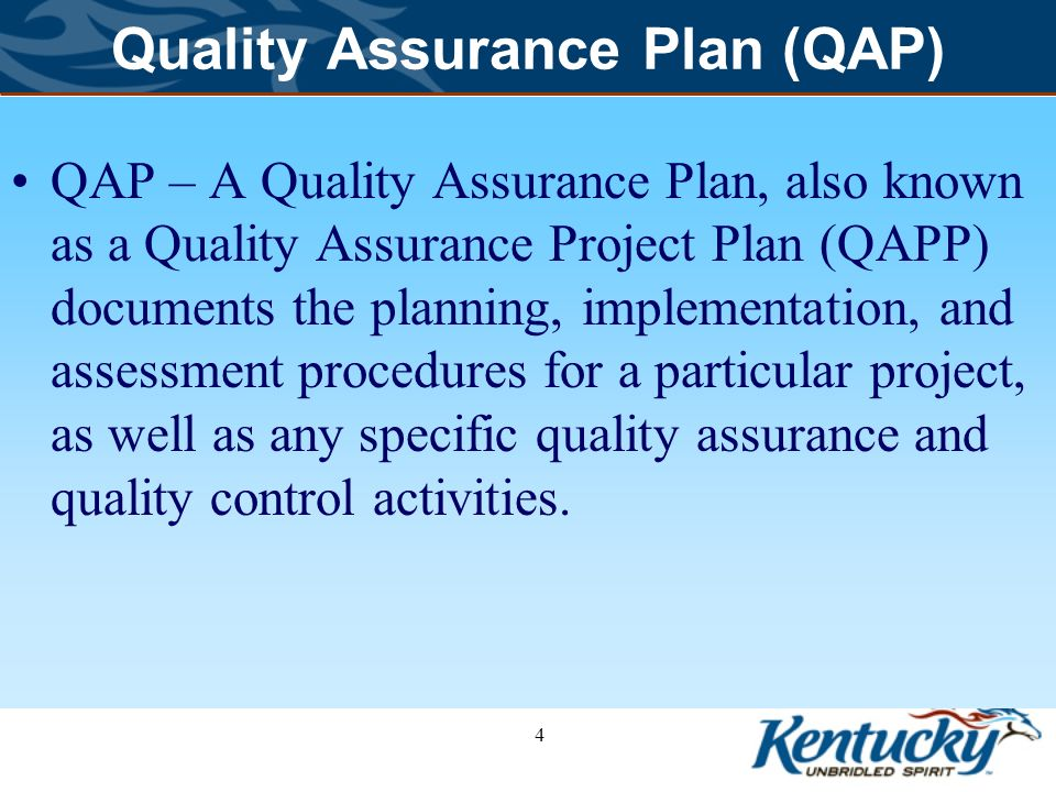 Quality Assurance Plan (QAP) Department for Environmental Protection