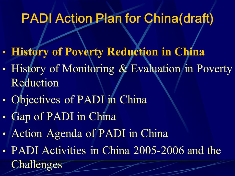 PADI Action Agenda for China(draft) History of Poverty Reduction in