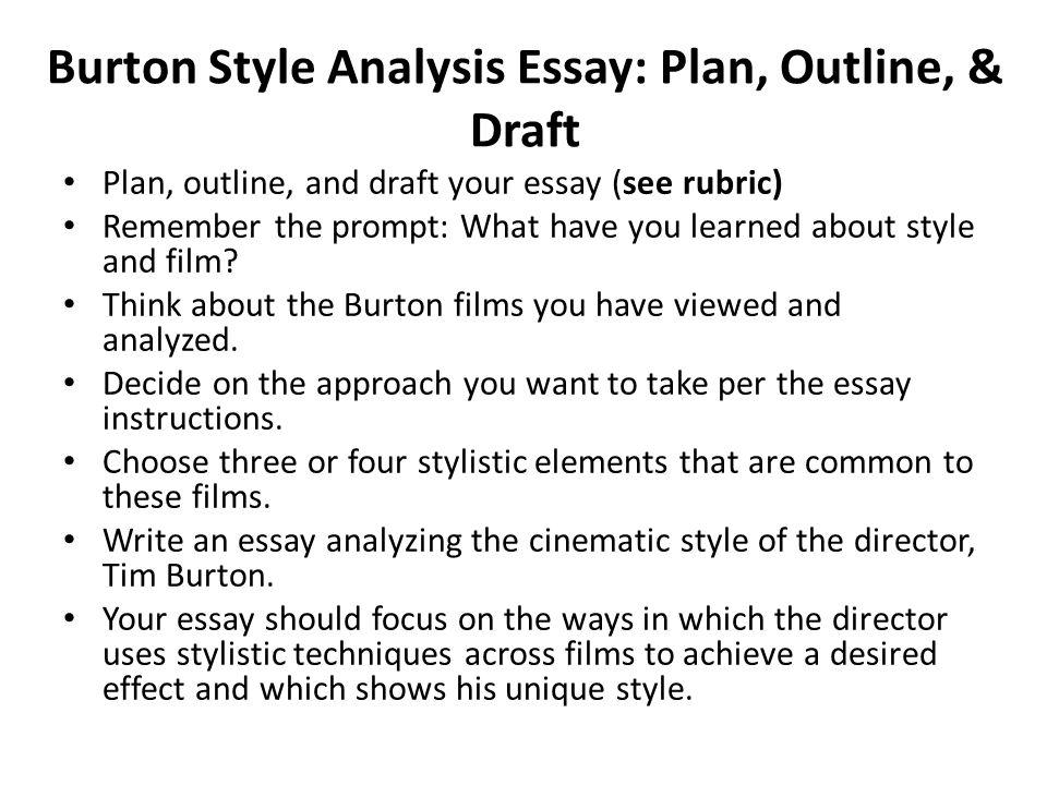 Burton Style Analysis Essay Plan, Outline,  Draft Plan, outline