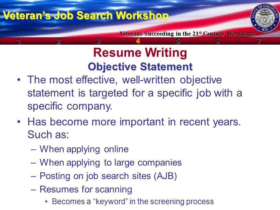 Resume Writing Veteran\u0027s Job Search Workshop Veterans Succeeding in - resume writing objective statement