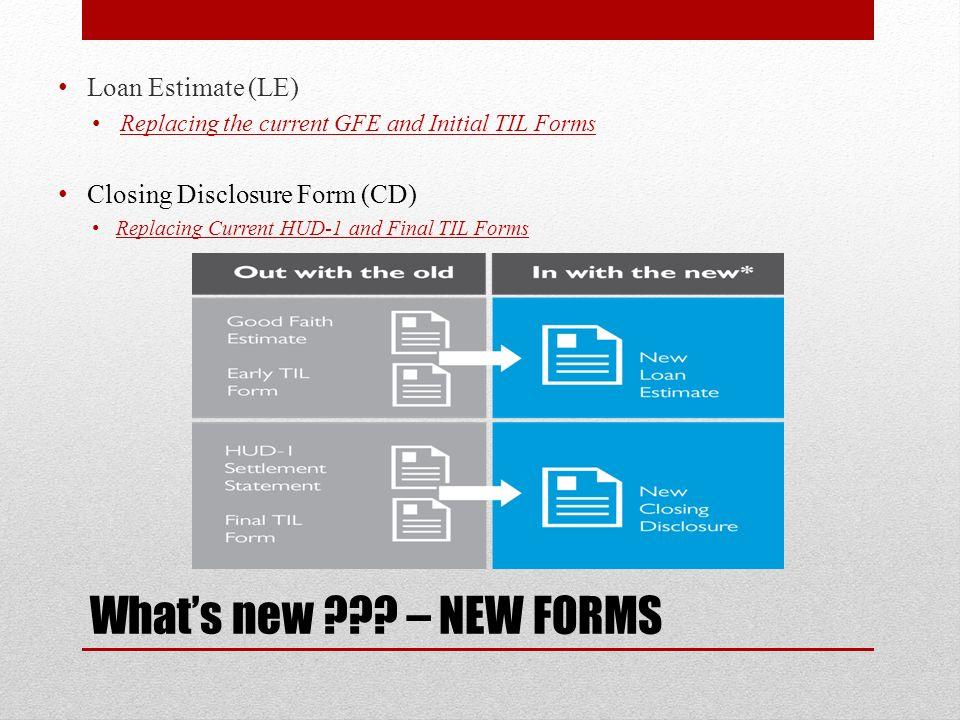 TILA-RESPA Integrated Disclosures (TRID) Completing The Loan - loan estimate form