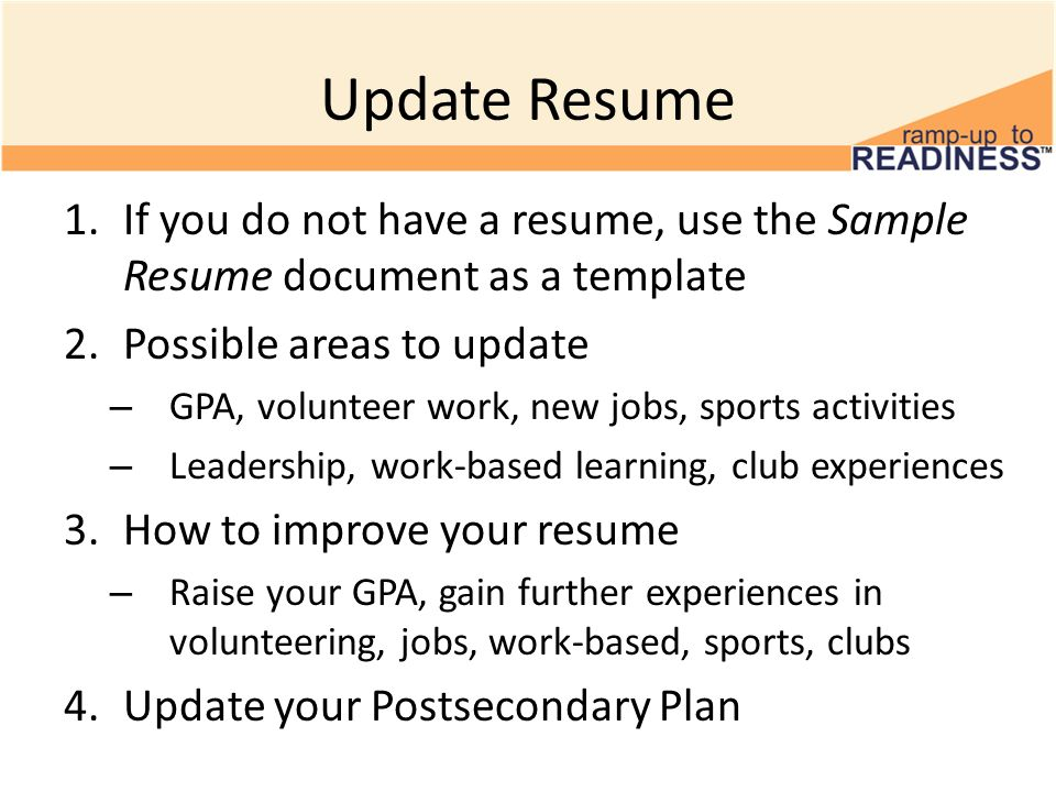 Update Resume 11 th Grade Postsecondary Visits and Admissions #2 - sample resume with gpa