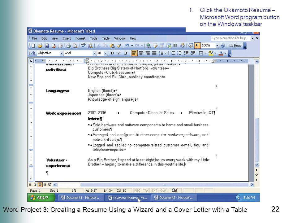 Office 2003 Introductory Concepts and Techniques M i c r o s o f t - how to create a resume in microsoft word
