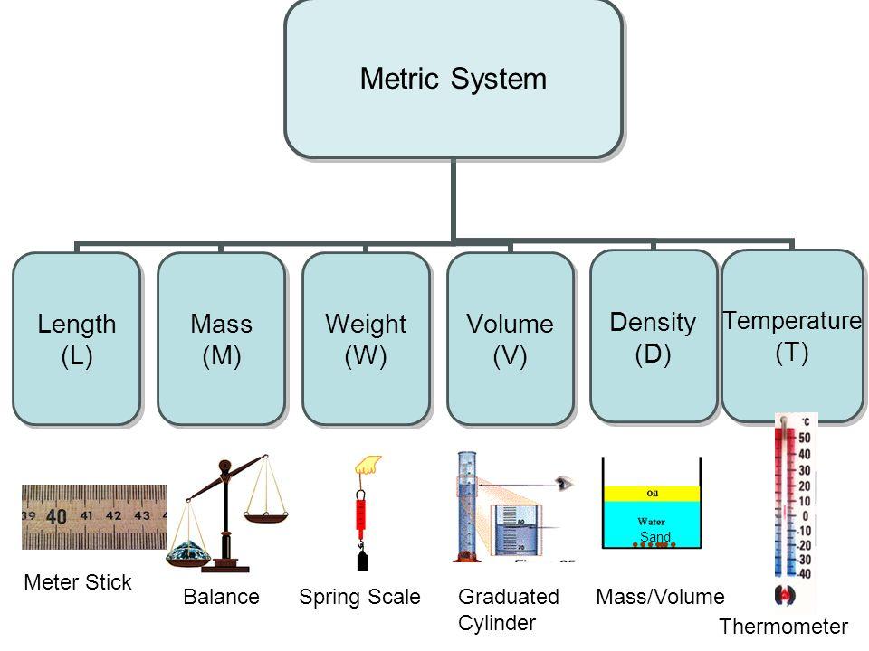 Metric System Length (L) Mass (M) Weight (W) Volume (V) Density (D