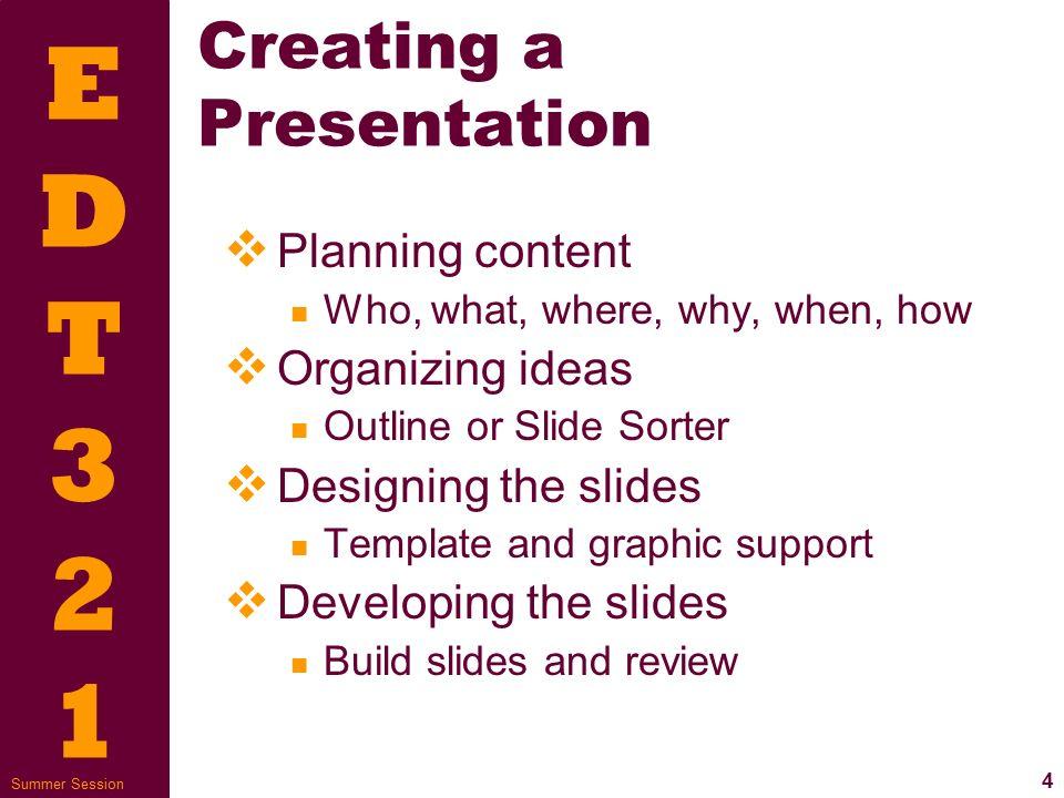 EDT321EDT321 1 Summer Session Online Presentations Presentation