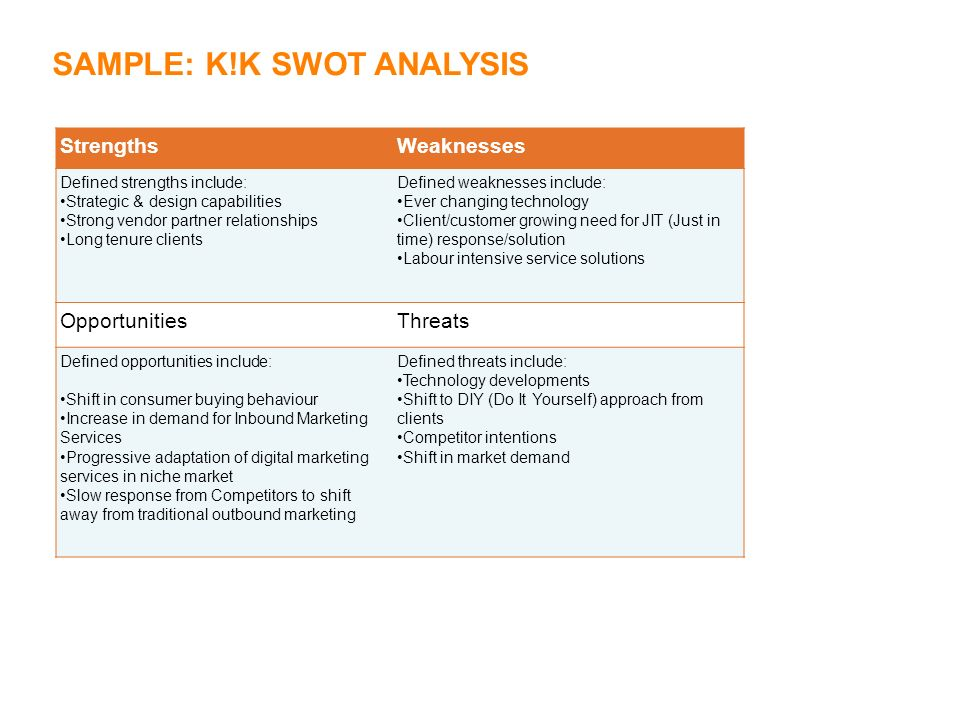 K!K SWOT Analysis Template Introduction Getting to the root of - sample vendor analysis