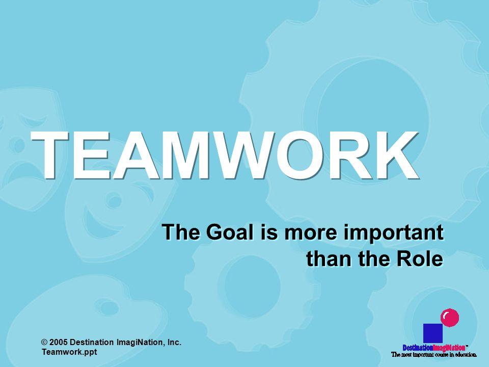 2005 Destination ImagiNation, Inc Teamworkppt The Goal is more