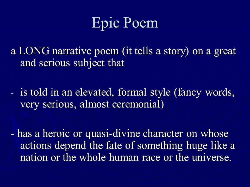 Rules for Epic Poetry Intro to The Odyssey Epic Poem a LONG