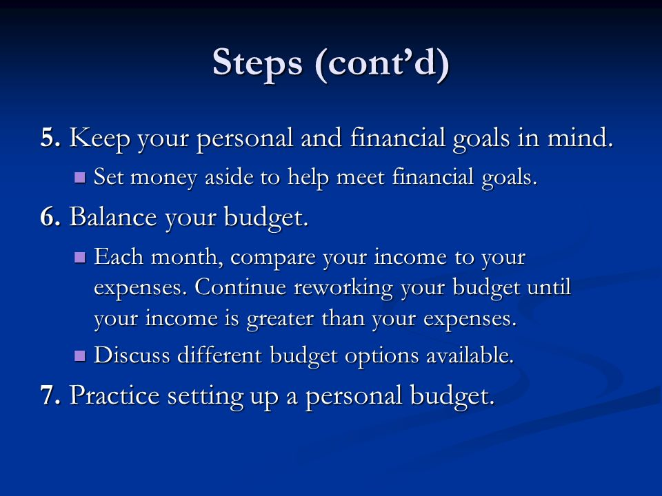 Budgeting Process What it is A plan for spending and saving A plan