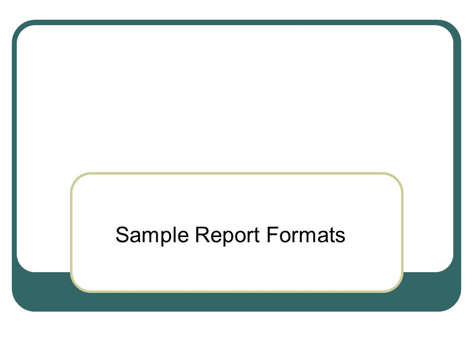 Sample Report Formats Research Article Front matter Title Abstract