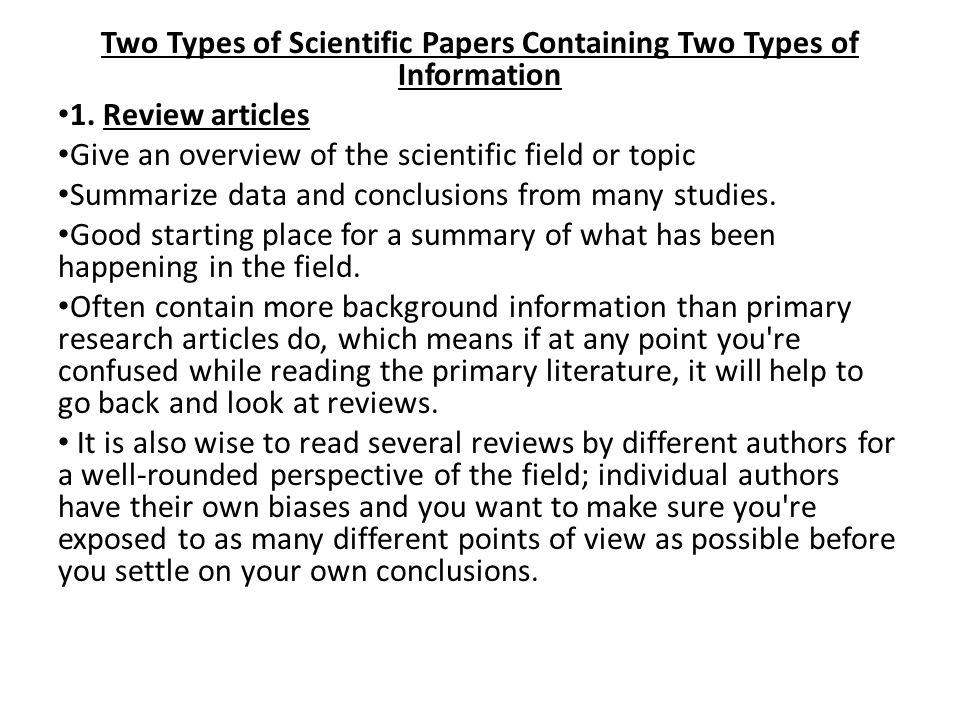 Scientific research paper topics ideas