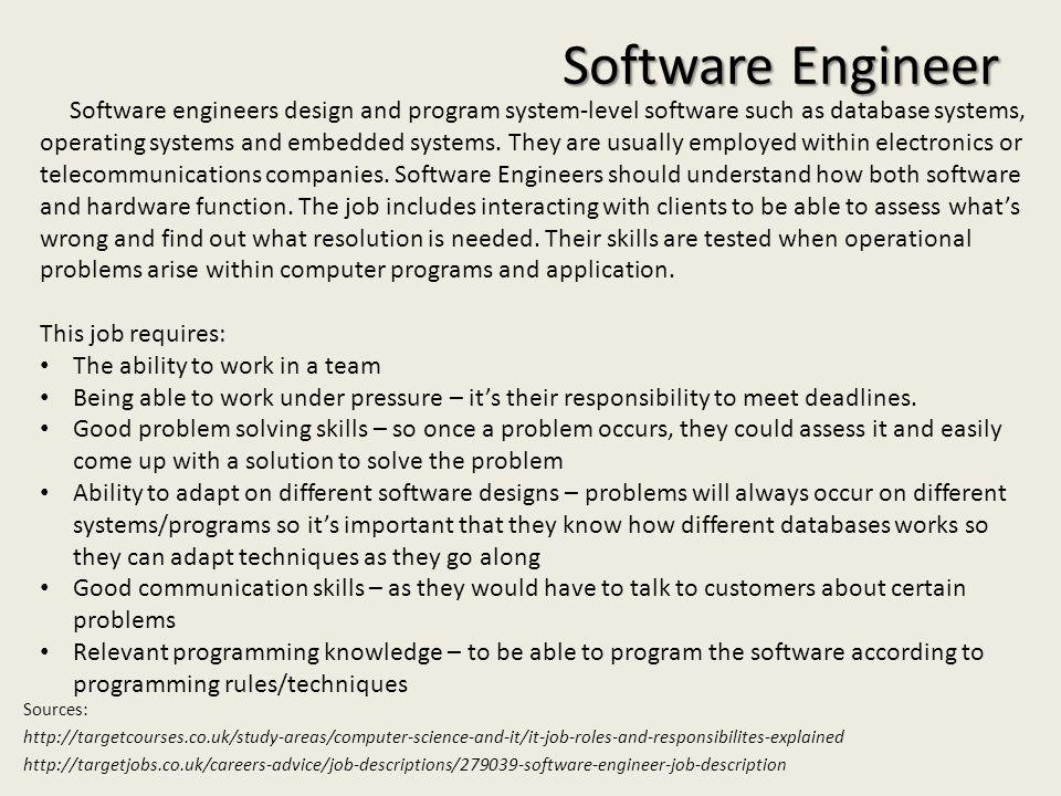 Ausgezeichnet Software Engineer Job Description Zeitgenössisch - software engineer job description
