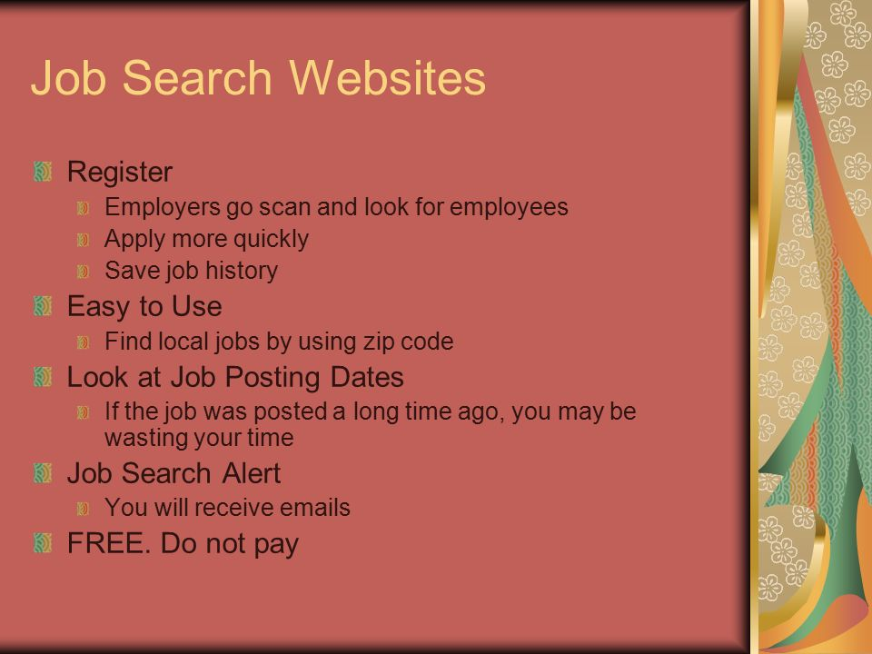 Job Search Learning to search for a job in a new generation of job - websites to look for jobs
