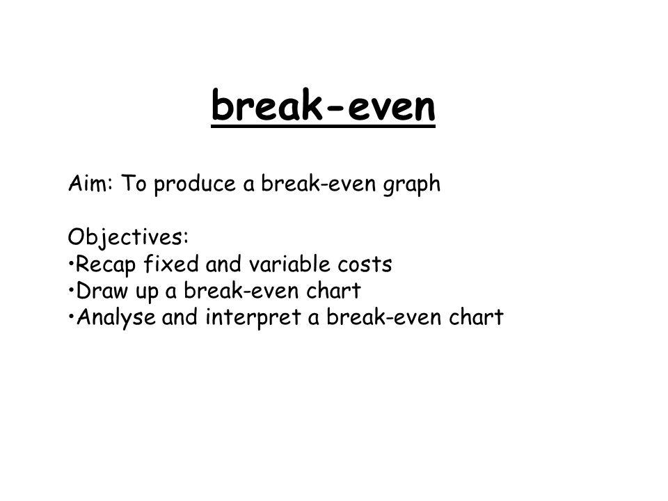 Break-even Aim To produce a break-even graph Objectives Recap