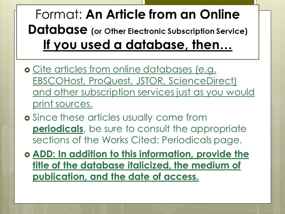 Mla citation format online article Term paper Academic Service