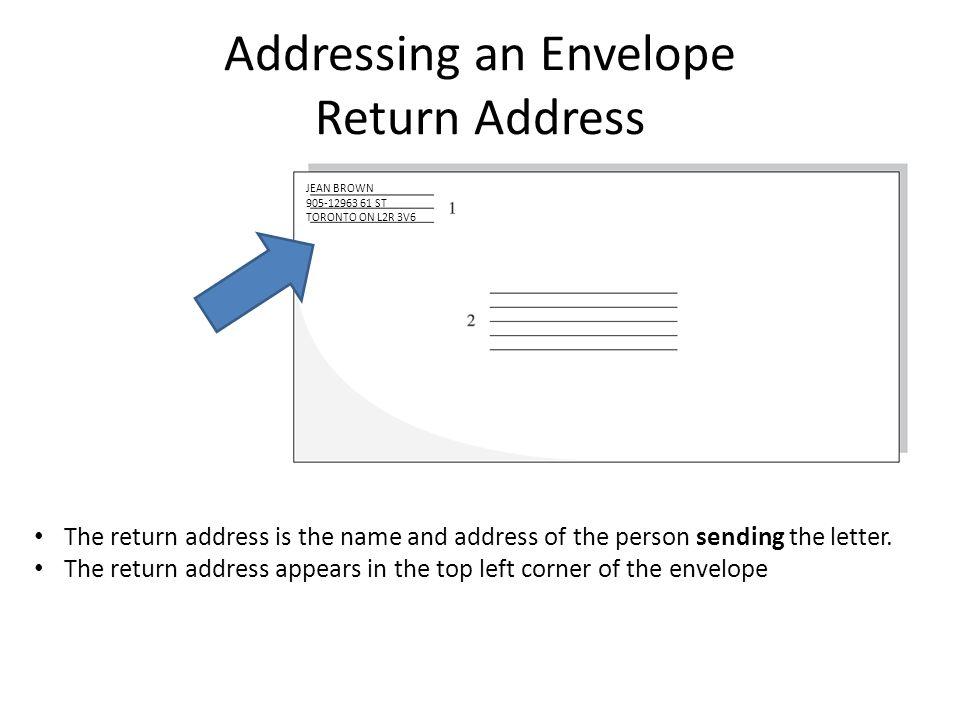 Addressing an Envelope Addressing an Envelope Return Address The